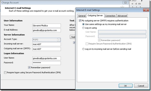 Outlook configuration for SMTP
