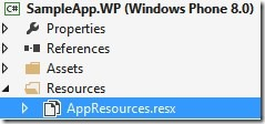Resource file created as part of the WP8 project