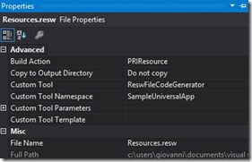 resw file properties