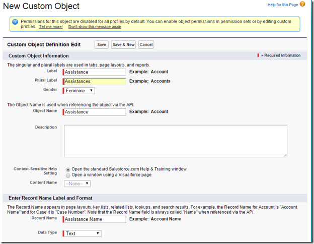 salesforce new custom object