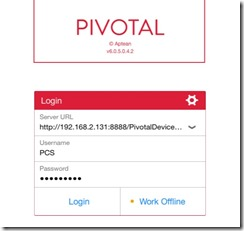 Pivotal CRM for iPad/iPhone login screen